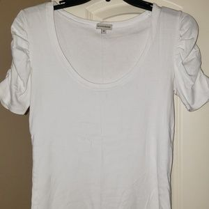 White top with scrunched short sleeve